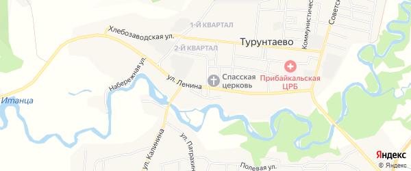 Карта села Турунтаево в Бурятии с улицами и номерами домов