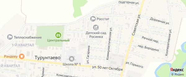 Улица Гагарина на карте села Турунтаево Бурятии с номерами домов