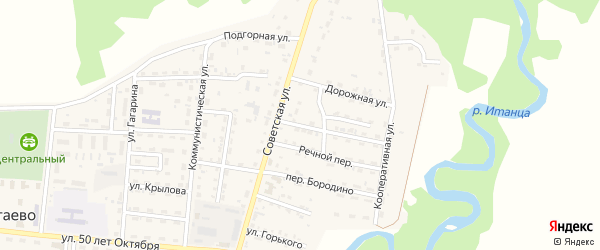 Речной 2-й переулок на карте села Турунтаево Бурятии с номерами домов