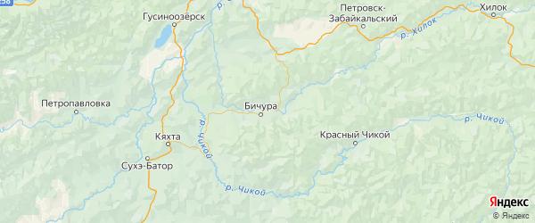 Карта Бичурского района Республики Бурятии с городами и населенными пунктами