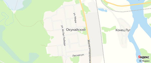 Карта Окунайский поселка в Иркутской области с улицами и номерами домов