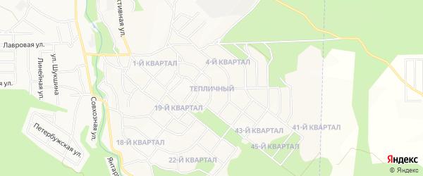 Карта микрорайона Тепличного (квартала 15) города Улан-Удэ в Бурятии с улицами и номерами домов
