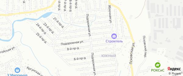 Улица Подорожная проезд 15 на карте СНТ Строителя с номерами домов