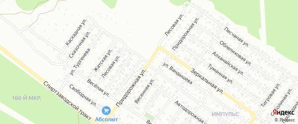 Улица Придорожная проезд 15 на карте территории СНТ Строителя с номерами домов