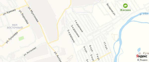 Карта садового некоммерческого товарищества Надежда-5 в Бурятии с улицами и номерами домов