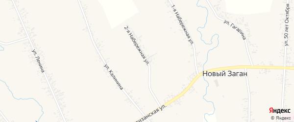 Набережная 2-я улица на карте села Нового Загана Бурятии с номерами домов