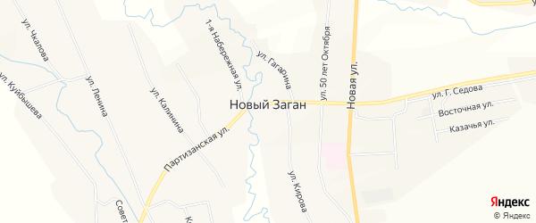 Карта села Нового Загана в Бурятии с улицами и номерами домов