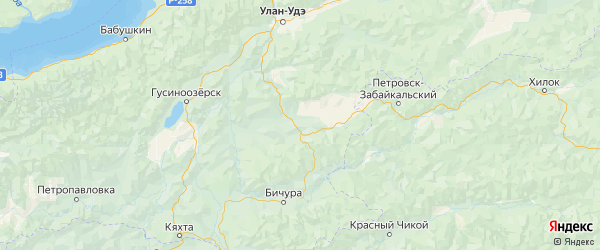 Карта Мухоршибирского района республики Бурятия с населенными пунктами и городами