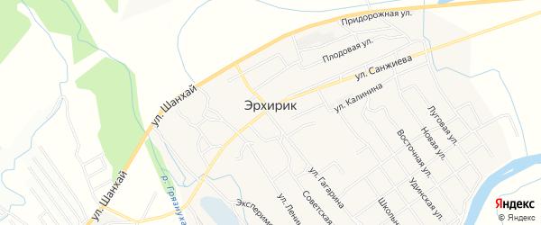 Карта села Эрхирик в Бурятии с улицами и номерами домов