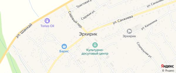 Зеленая улица на карте села Эрхирик Бурятии с номерами домов
