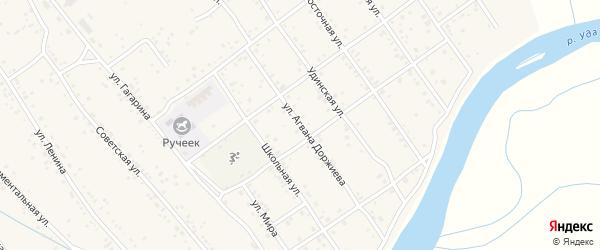 Улица А.Доржиева на карте села Эрхирик Бурятии с номерами домов