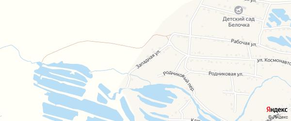 Западная улица на карте Онохого поселка Бурятии с номерами домов