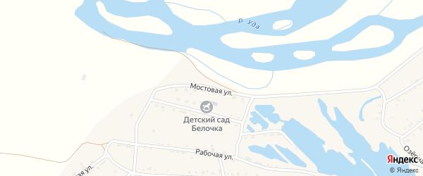 Мостовая улица на карте Онохого поселка Бурятии с номерами домов