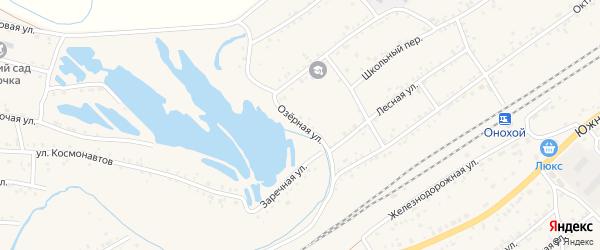 Озерная улица на карте Онохого поселка Бурятии с номерами домов