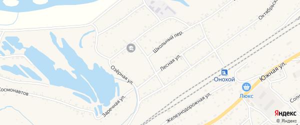 Кооперативный переулок на карте Онохого поселка Бурятии с номерами домов