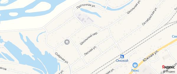 Школьный переулок на карте Онохого поселка Бурятии с номерами домов