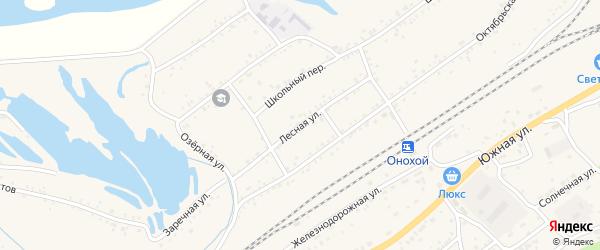Лесная улица на карте Онохого поселка Бурятии с номерами домов
