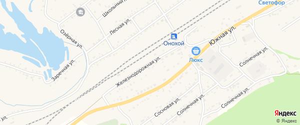 Железнодорожная улица на карте Онохого поселка Бурятии с номерами домов