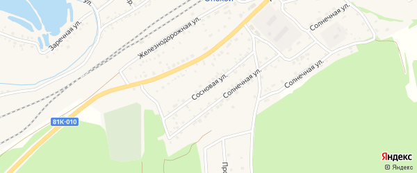 Сосновая улица на карте Онохого поселка Бурятии с номерами домов