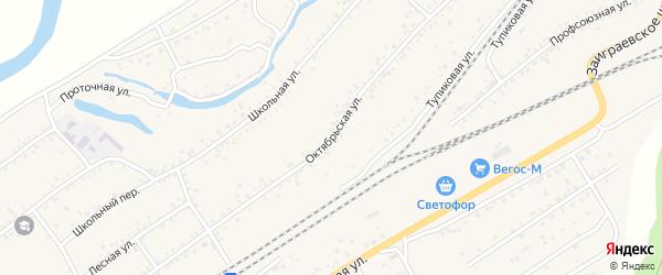 Октябрьская улица на карте Онохого поселка Бурятии с номерами домов