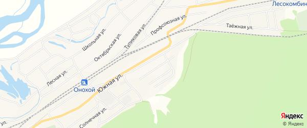 Дачное некоммерческое партнерство ДНТ Звезда на карте Онохого поселка Бурятии с номерами домов