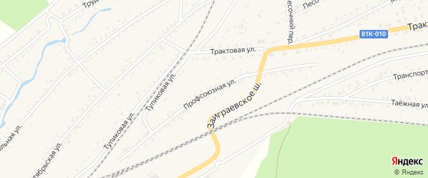 Профсоюзная улица на карте Онохого поселка Бурятии с номерами домов