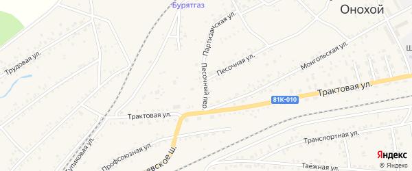 Песочный переулок на карте Онохого поселка Бурятии с номерами домов
