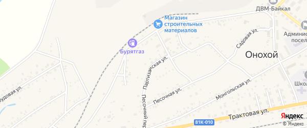 Партизанская улица на карте Онохого поселка Бурятии с номерами домов