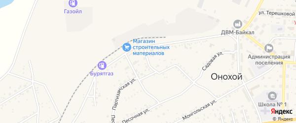 Заводской переулок на карте Онохого поселка Бурятии с номерами домов