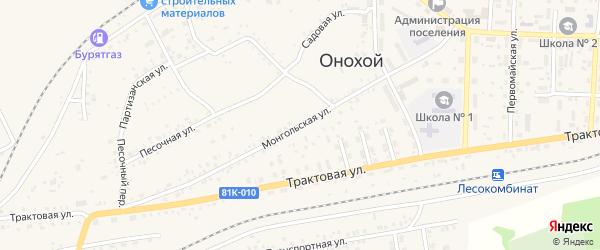 Монгольская улица на карте Онохого поселка Бурятии с номерами домов
