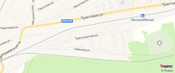 Транспортная улица на карте Онохого поселка Бурятии с номерами домов