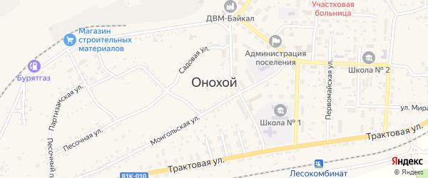 Армейская улица на карте Онохого поселка Бурятии с номерами домов