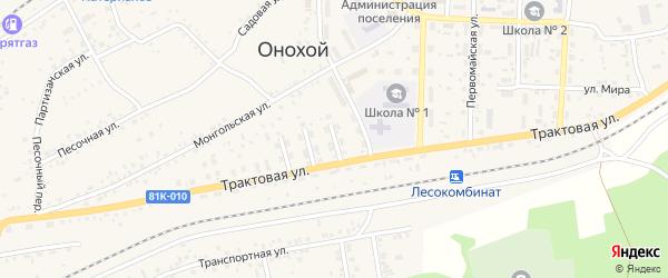 Улица Стаханова на карте Онохого поселка Бурятии с номерами домов