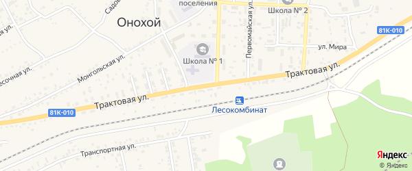 Трактовая улица на карте Онохого поселка Бурятии с номерами домов