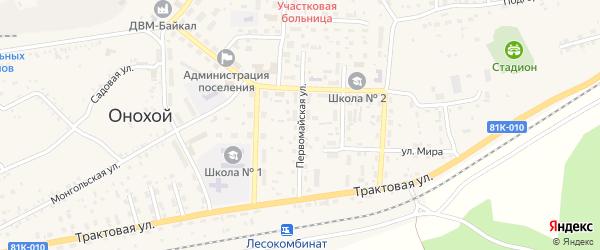 Первомайская улица на карте Онохого поселка Бурятии с номерами домов