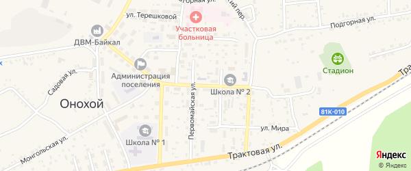 Улица Серова на карте Онохого поселка Бурятии с номерами домов