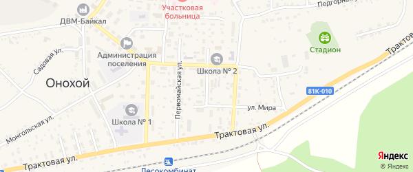 Улица Николая Петрова на карте Онохого поселка Бурятии с номерами домов