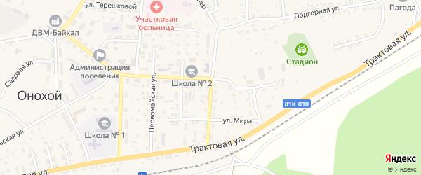 Строительная улица на карте Онохого поселка Бурятии с номерами домов