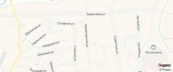 Пролетарская улица на карте Онохого поселка Бурятии с номерами домов