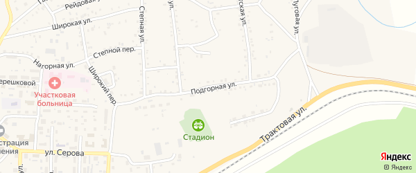 Подгорная улица на карте Онохого поселка Бурятии с номерами домов