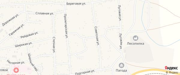 Советский переулок на карте Онохого поселка Бурятии с номерами домов