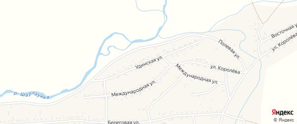 Удинская улица на карте Онохого поселка Бурятии с номерами домов