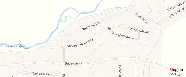 Международная улица на карте Онохого поселка Бурятии с номерами домов