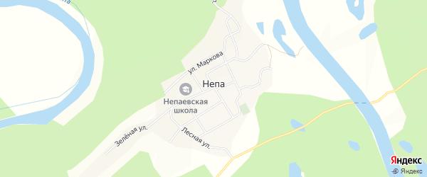Карта села Непа в Иркутской области с улицами и номерами домов