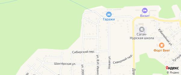 Звездный переулок на карте поселка Сагана-Нура с номерами домов