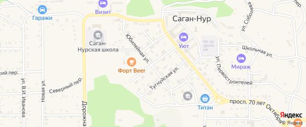 Горняцкая улица на карте поселка Сагана-Нура с номерами домов