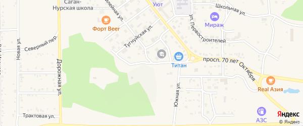 Спортивная улица на карте поселка Сагана-Нура с номерами домов