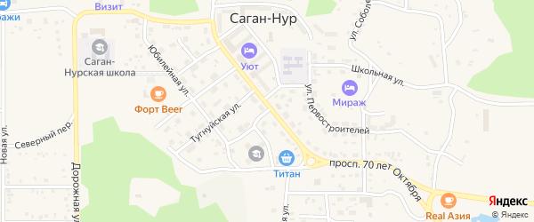 Улица Пушкина на карте поселка Сагана-Нура с номерами домов