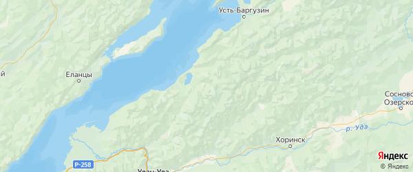 Карта Прибайкальского района Республики Бурятии с городами и населенными пунктами