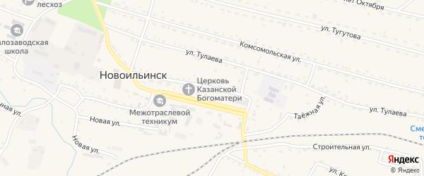 Таежная улица на карте села Новоильинска с номерами домов